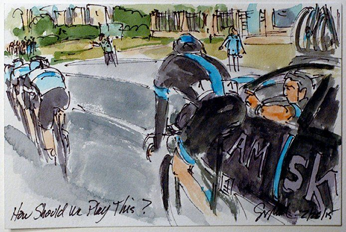 """2015 Omloop Het Nieuwsblad: """"How Should We Play This? - Ian Stannard (Team Sky)"""" by Greig Leach.  More The Art of Cycling - Sponsored by Richeson Art - Copyright © 2015 Greig Leach"""