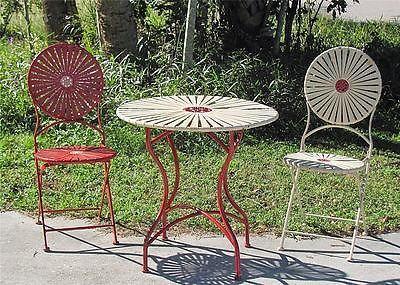 FRANCOIS CARRE designed C1930 3PC sunburst folding chair bistro set. NR - 110 Best Garden Furniture Images On Pinterest Garden Furniture
