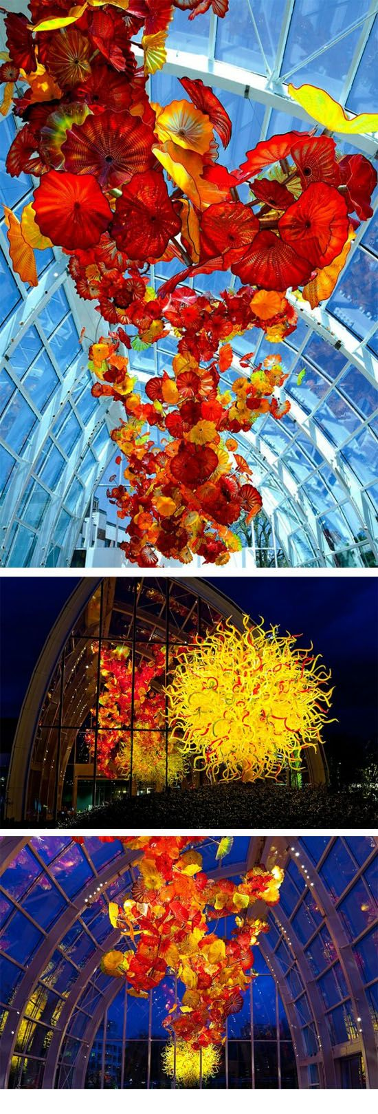 Chihuly Garden and Glass  ::    Pacific Sun and Glasshouse, 2012 ( Long-term exhibition :: http://artblart.com/2012/06/19/chihuly-garden-and-glass-seattle-center/# )