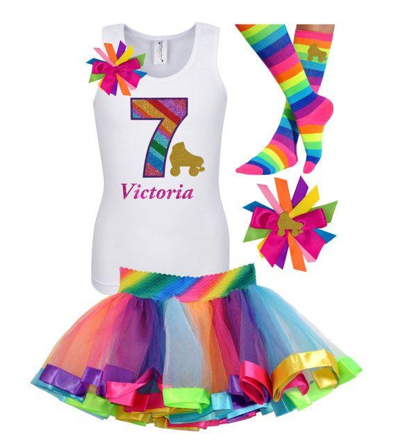 7mo cumpleaños arco iris patín camisa brillo oro ruedas Roller