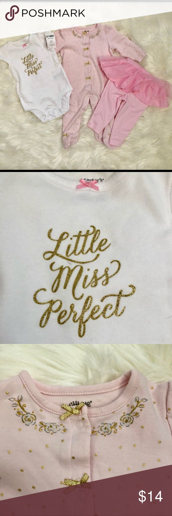 """Little Miss Perfect Set - 6 mos Adorable onesie & pants with tutu set. Pink, White & Gold """"Little Miss Perfect"""". Pink & Gold polka dot footie pajama with gold bows. 6 mos. NWT perfect shower gift! Carter's Matching Sets"""