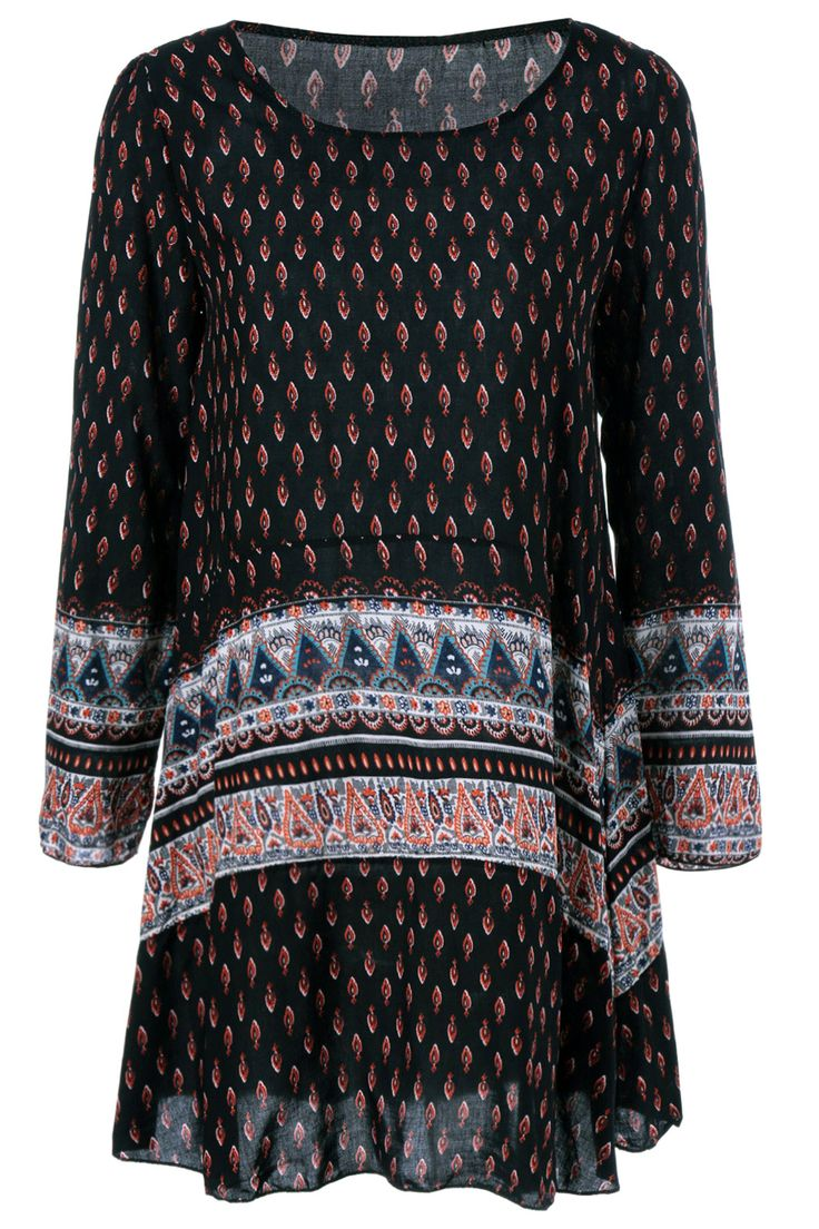 $13.69 Ethnic Print Loose-Fitting Dress