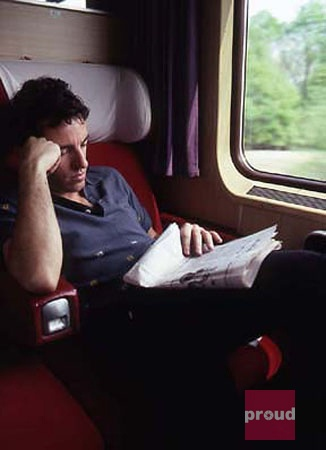 Bruce Springsteen reading on the train. Jim Marchese