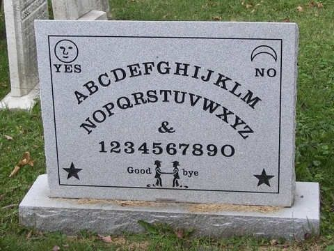This is the headstone of Elijah Bond, the man who first trademarked the Ouija Board. Fans and enthusiasts tracked down his grave and erected this clever monument to him.