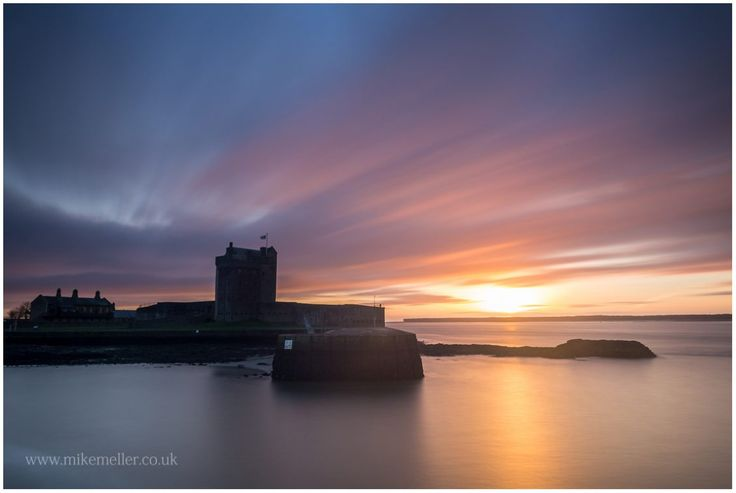 Sunrise Behind The Broughty Castle Museum, SCOTLAND. Colorful Clouds.