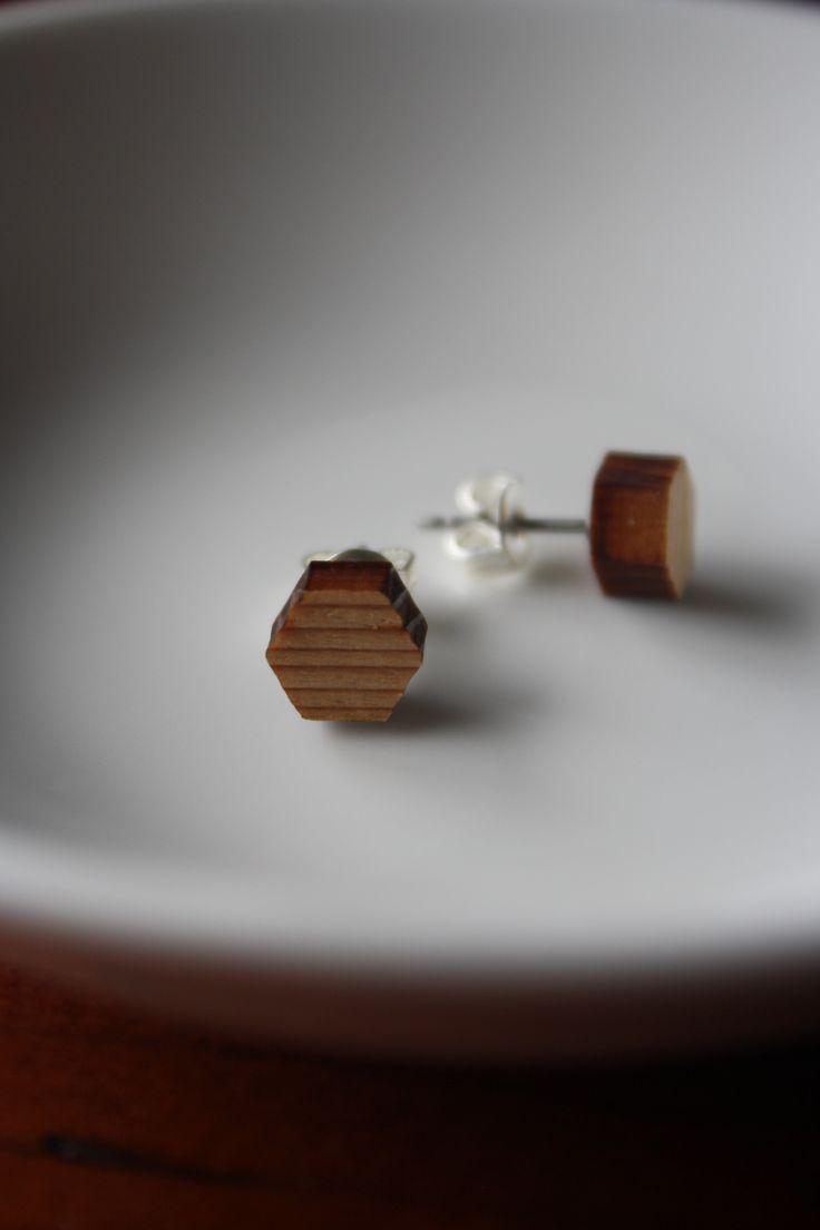 Cedar hexagon studs - $15