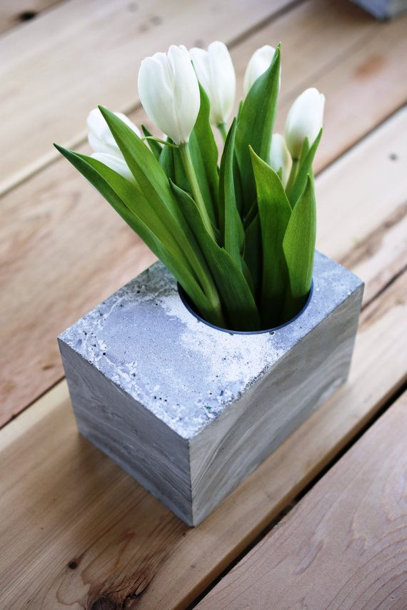 Concrete vase with marble swirl pattern by Concrete Habitat