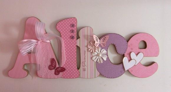Nome em MDF, decorado em papel de scrap.  Pode ser utilizado para decorar quarto, porta de maternidade e festa infantil.  Fazemos nas cores desejadas R$50,00