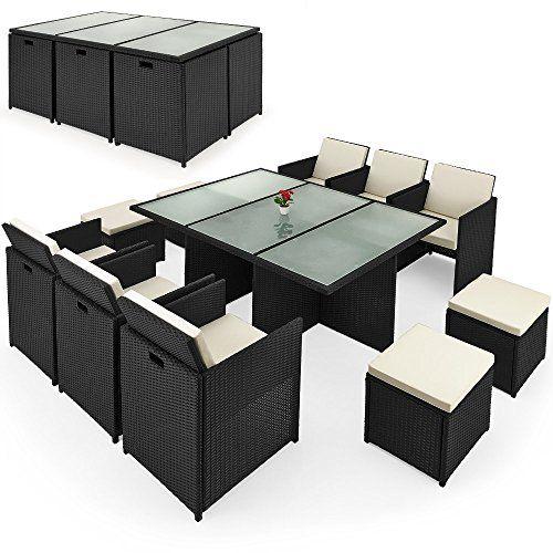Deuba® Poly Rattan Sitzgruppe 10+1 ✓Cube Design ✓7cm dicke Auflagen creme ✓klappbare Rückenlehne ✓platzsparend - 27tlg. Sitzgarnitur Gartengarnitur Rattanmöbel Cube #Deuba® #Poly #Rattan #Sitzgruppe #✓Cube #Design #✓cm #dicke #Auflagen #creme #✓klappbare #Rückenlehne #✓platzsparend #tlg. #Sitzgarnitur #Gartengarnitur #Rattanmöbel #Cube