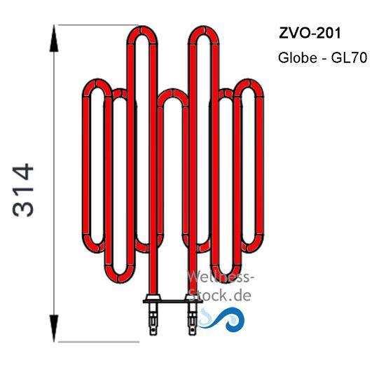 Heizstab ZVO-200 für Saunaofen Harvia Globe GL110 und GL110E