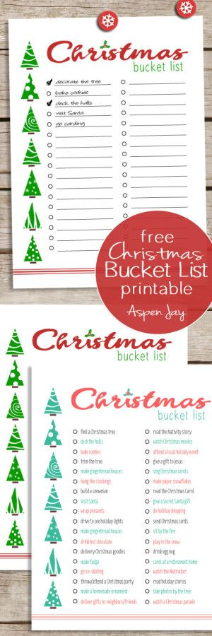 Free Christmas Bucket List Printables in two colors. This will be so nice to keep track of everything I want to do this year for the holidays!