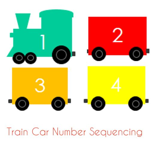free printable train car number sequencing toddler activity - Toddler Activities Printables