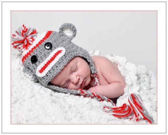 Crochet Boys Sock Monkey Hat 10 Sale on all RTS by Lilydotcrochet, £15.00