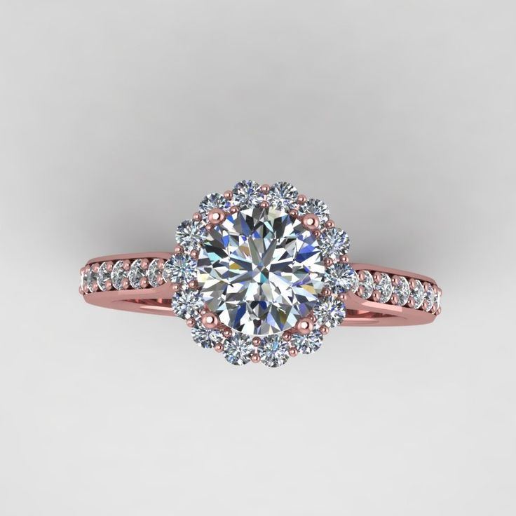 rose diamond wedding rings rose gold diamond engagement ring with moissanite center style - Gold Diamond Wedding Rings