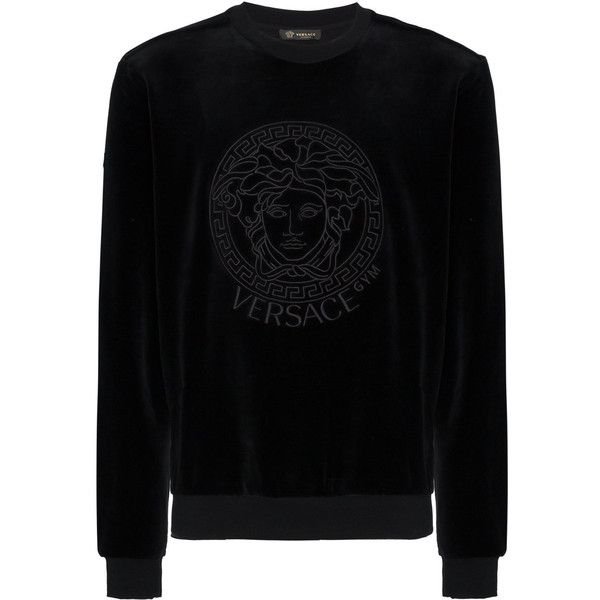 Versace Medusa embroidered velvet sweatshirt (24.350 RUB) ❤ liked on Polyvore featuring men's fashion, men's clothing, men's hoodies, men's sweatshirts, black and mens velvet sweatshirt