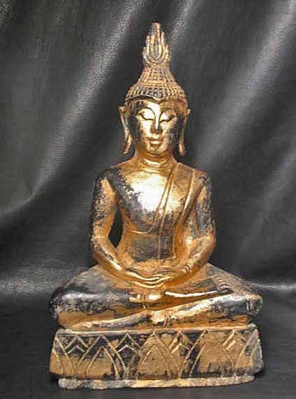 "17"" Hand Carved Gilded Monkey Pod Wood Samadhi Sukhothai DhyAna Mudra Thai Buddha"