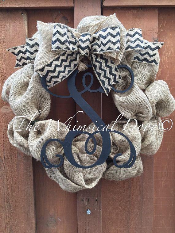 Hey, I found this really awesome Etsy listing at https://www.etsy.com/listing/217310902/burlap-monogram-wreath-burlap-wreath