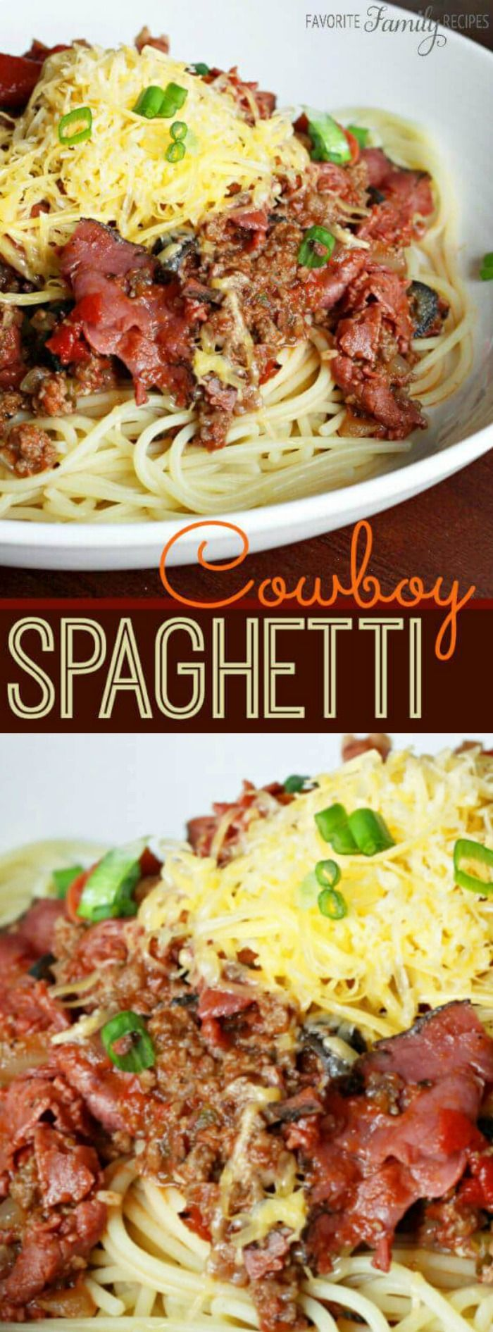 This Cowboy Spaghetti from Favorite Family Recipes is so incredible flavorful and tasty! It makes the perfect hearty dinner that your family, and especially your husband will really love.
