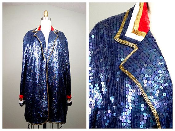 Nautical Beaded Sequin Trophy Jacket by Rina Z. // Navy by braxae