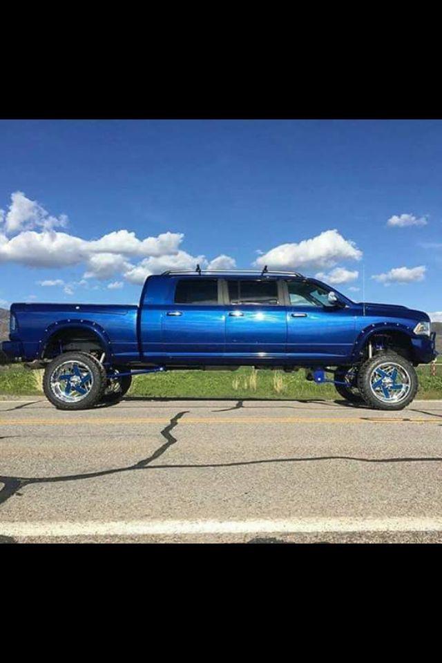 Vibrant Blue 6 Door Mega Ram Dodge Cummins! #Dodge #Cummins #Lifted #Blue #Chrome