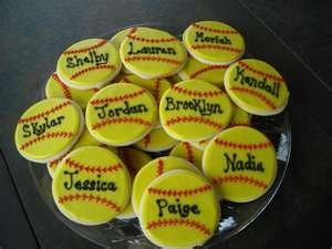 Softball cookies for party!