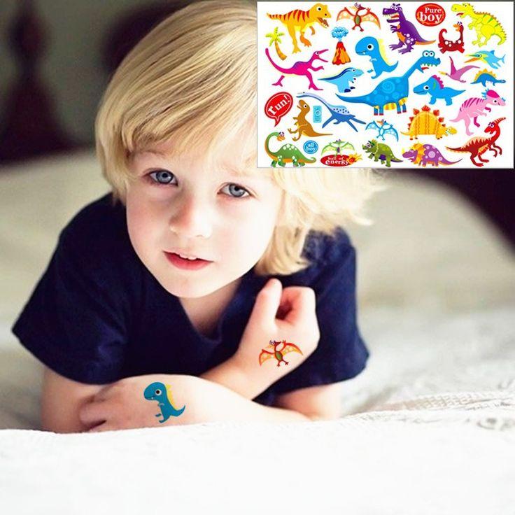 Ребенок динозавров игрушки наклейки временные флэш тату боди арт 17 * 10 см водонепроницаемый хна тату EN71 качество продукции бесплатная доставка купить на AliExpress