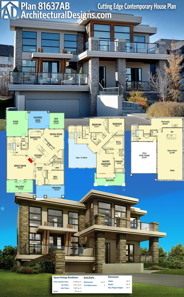 Architectural Designs Plan 81637AB in comes to life! This plan has 3+ beds and 3 baths and over 3,100 square feet of heated living space. Ready when you are. Where do YOU want to build? #81637ab #adhouseplans #architecturaldesigns #houseplan #architecture #newhome #newconstruction #newhouse #homedesign #dreamhome #dreamhouse #homeplan #architecture #architect #houses #modern