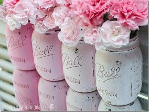 Painted Mason Jars: Pink - Mason Jar Crafts Love  Or baby jars, or any jar for that matter! Paint with acrylic paint and seal with clear acrylic spray.