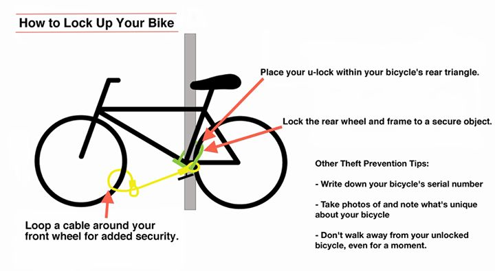 Handy illustration of how to lock your bike, courtesy of the East Bay Bicycle Coalition. Other handy tips: 1. Add all bikes to your home owners or renters insurance with serial numbers 2. register your bike with its serial number at your local police dept or court house 3. roll up your business card and stick it in your seat post, that way if your bike ever is stolen and then recovered, you can easily prove it's yours.