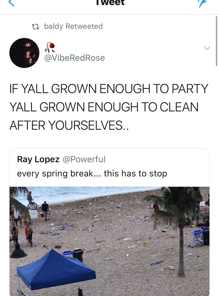 Call out young adults on the impact of their partying.   I mean, have fun, but trashing a place is so disrespectful.