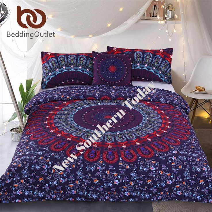 Mandala Bohemian Purple Bedspread Duvet Cover Bedding 4 Piece Set