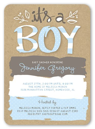 Baby Shower Invitation: Pattern Shower Boy, Rounded Corners, Blue