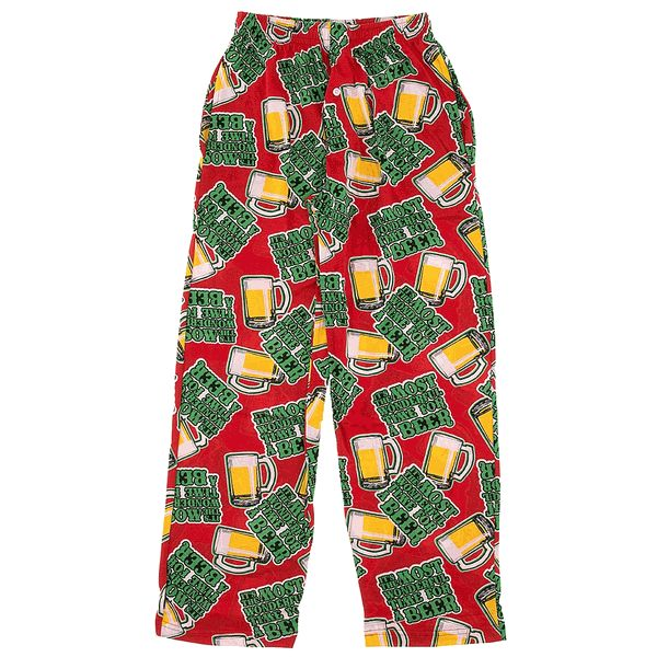 Humor and song are all a part of the Christmas season. These red Fun Boxer Christmas pajama pants will make it easy. These lounge pants poke fun at a popular Christmas song by changing the song from Most Wonderful Time of the Year to Most Wonderful Time For A Beer. The pants have a button up fly and are machine washable. The elastic waistline has an adjustable drawstring. These pajama pants are 100% cotton knit fabric which is comfortable to wear.