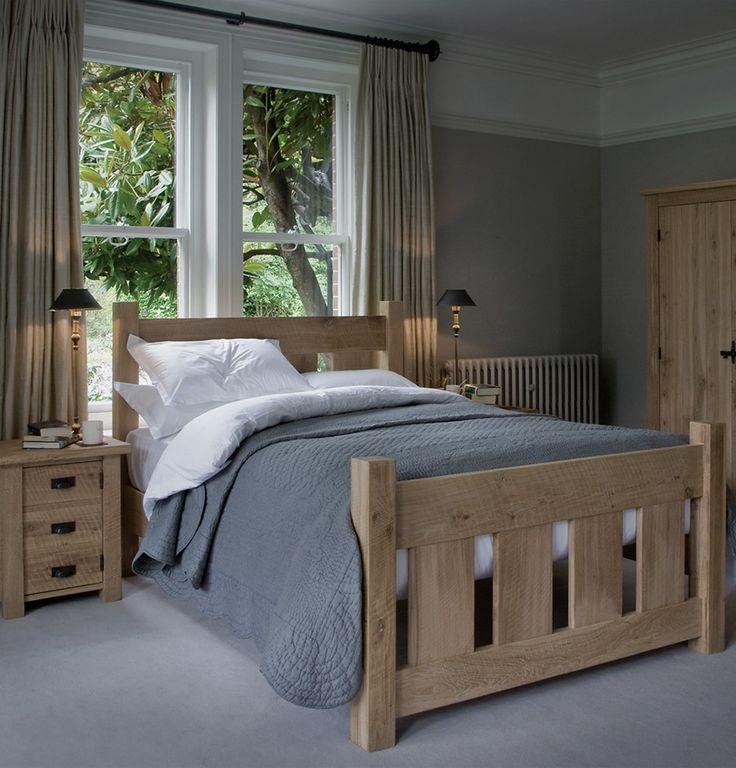 Indigo Granger's Oak Bed celebrates the warmth of natural oak and distinct saw marks #grangersbed #oak #bed #solidwood #indigofurniture