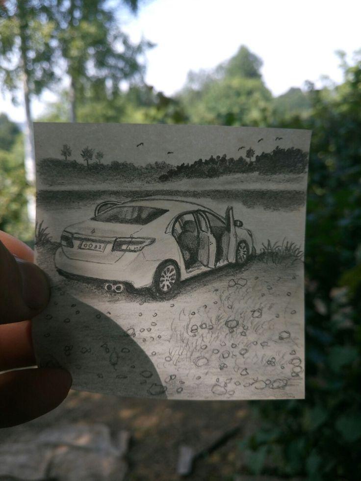 Taksi çizim Karakalem