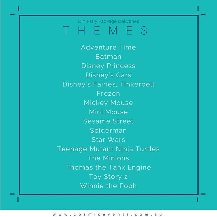 Themes for our #DIYpartyPackages #minions #batman #StarWars #Frozen #Party #DIYparty #Australia #Victoria
