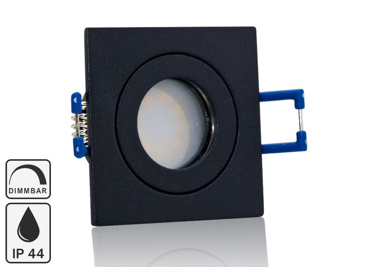 Feuchtraum LED Einbaustrahler Set IP44 MR11 35mm Druckguß anthrazit eckig mit Marken Flat LED Spot LC Light 3 Watt 230V Dimmbar