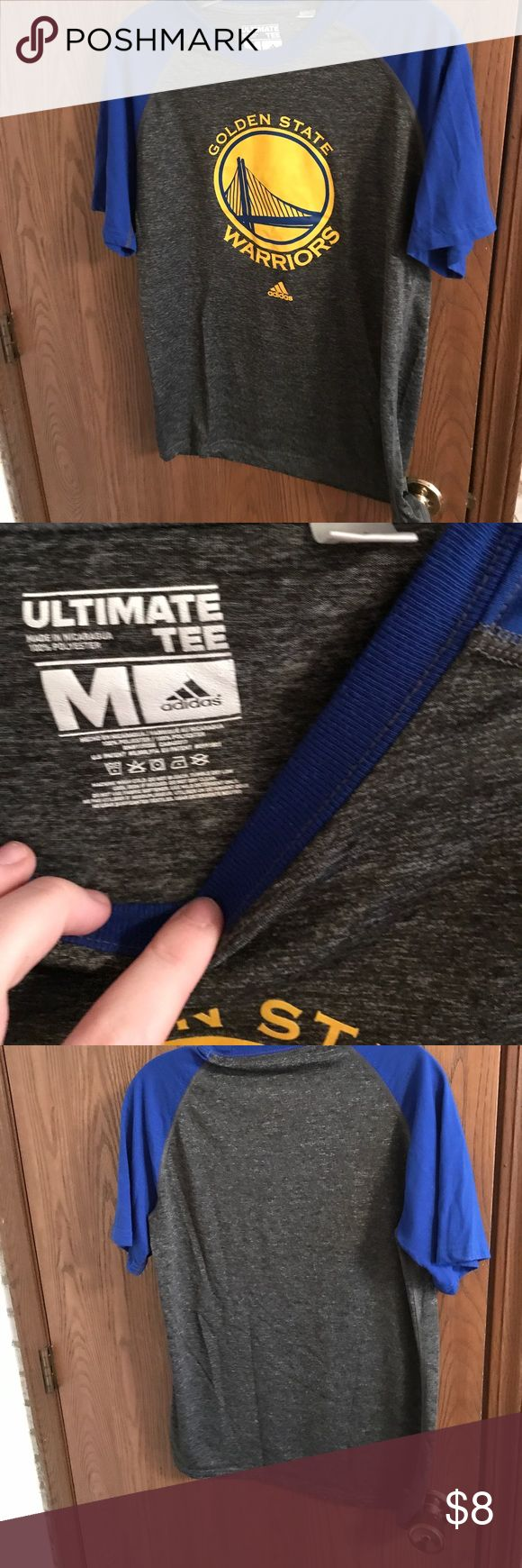 Golden State Warriors shirt. Men's Blue and gray Adidas Golden Stare Warriors shorts. Dri-fit material. adidas Shirts Tees - Short Sleeve