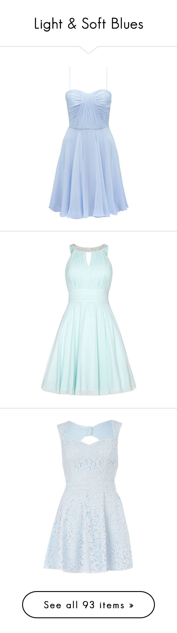 """Light & Soft Blues"" by mscody ❤ liked on Polyvore featuring dresses, vestidos, short dresses, blue, powder blue, holiday cocktail dresses, pleated cocktail dress, cocktail bridesmaid dresses, holiday dresses and special occasion dresses"