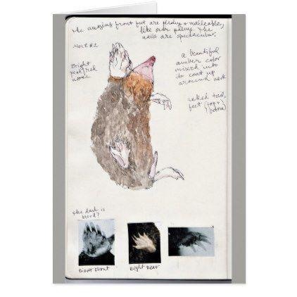 eastern mole nature journal page card -nature diy customize sprecial design