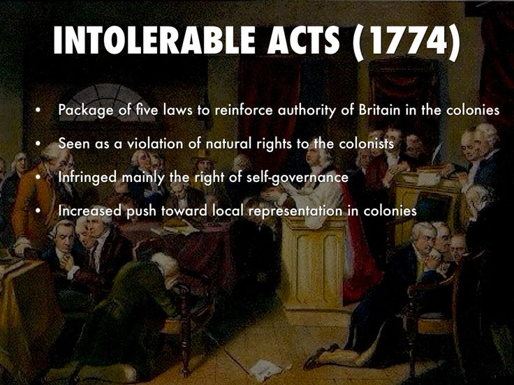 Intolerable acts 1774 a push book