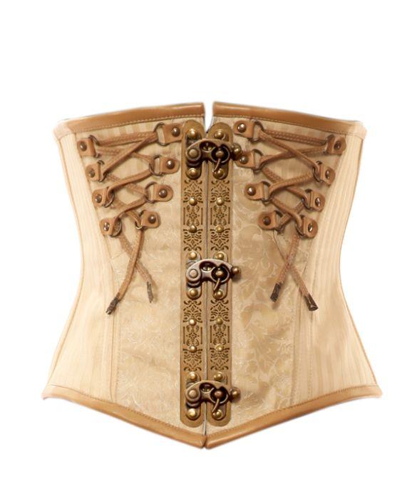 Cream brocade steampunk corset with laces
