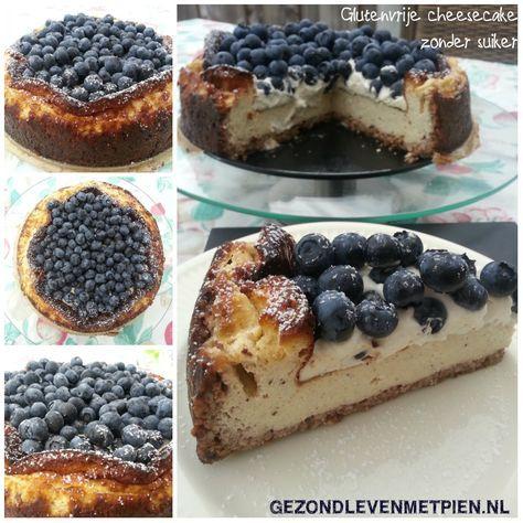 Glutenvrije cheesecake met blauwe bessen suikervrij gezoet met gemalen steviablaadjes  Deze cheesecake is niet zoet, maar in combinatie met de blauwe bessen precies goed. Als ontbijt of lunch, maar je kunt het natuurlijk ook gewoon echt als taart serveren :).