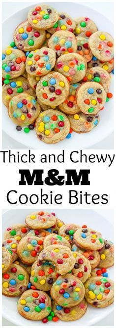 Thick and Chewy Brown Butter M&M Cookie Bites are a MUST make! So easy!