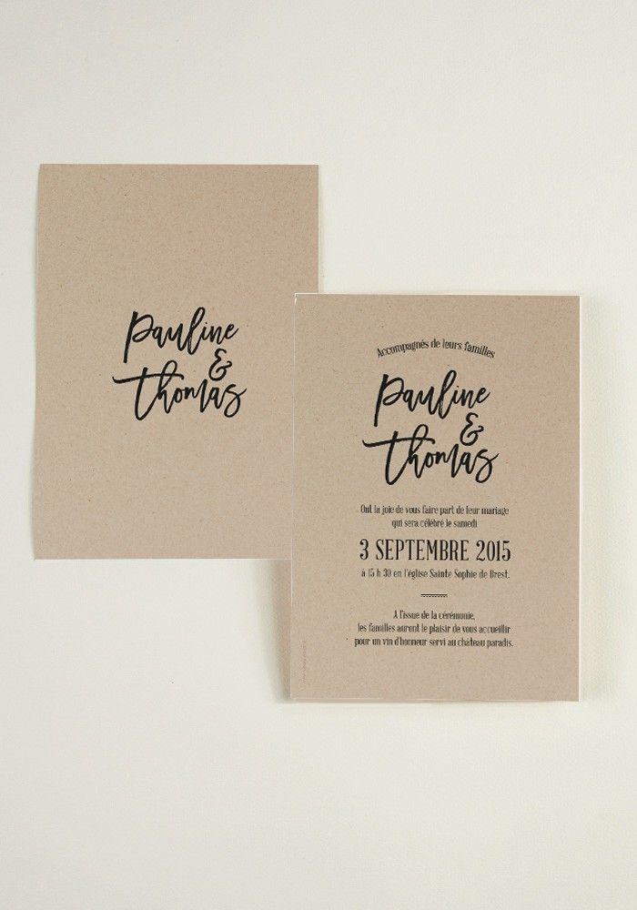 Faire-part de mariage imitation papier kraft dans la tendanceFolk & Bohème