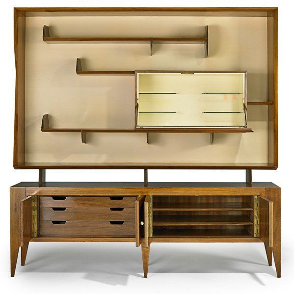 GIO PONTI (1891 - 1979) SINGER AND SONS Sideboard, Italy, 1950s; Figured walnut, lacquered wood; Unmarked; 80 x 78 1/2 x 17 1/2