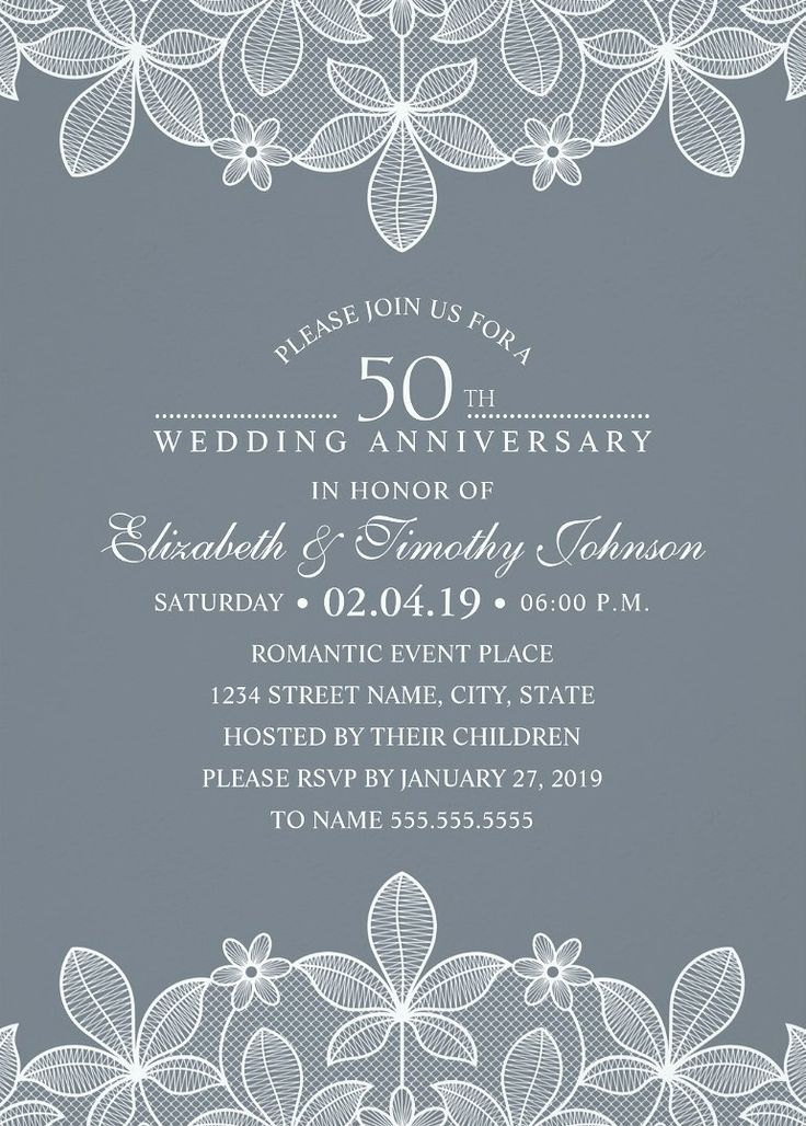 Luxury Lace 50th Wedding Anniversary Invitations. Unique creative wedding anniversary invitations. Feature a beautiful lace, a unique stylish typography on a bluish grey background. A romantic invitation perfect for rustic country themed, or other wedding anniversary celebrations. You can edit the background color of this creative wedding anniversary invitation. Just add your wedding anniversary cerebration details. More at http://superdazzle.com