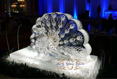 Peacock Ice Sculpture  _Ice Sculpture _Wedding _Events