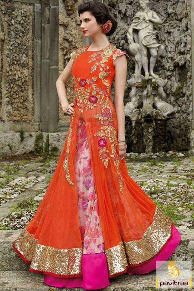 Amazing whole new pattern orange color double layer anarkali dress online shopping with discount prices. This royal looking Indian gown is designed with embroidery work. #western style anarkali suit #gown style anarkali dress #gown style anarkali suit #gown style anarkalifor wedding #designer anarkali suit #designer gown style anarkali More: http://www.pavitraa.in/catalogs/indian-designer-long-dresses-for-engagement/?utm_source=hp&utm_medium=pinterestpost&utm_campaign=18july