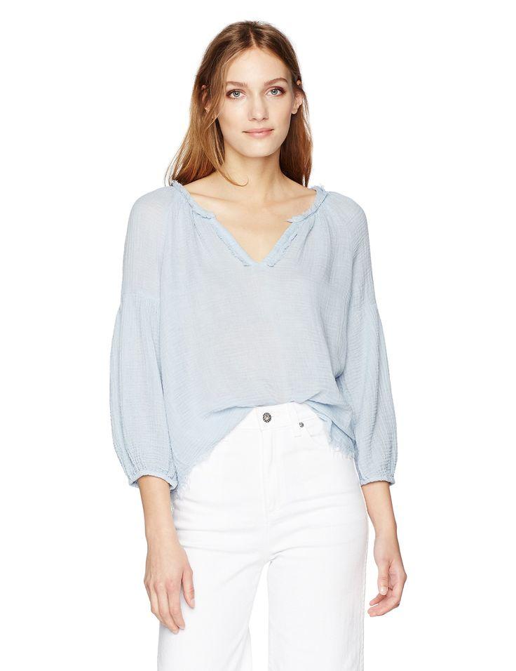 VELVET BY GRAHAM & SPENCER Women's Soft Cotton Gauze Peasant Blouse, Ice, XL